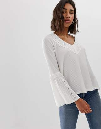 Free People Parisian Nights flared sleeve blouse-White