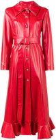 Awake ruffled hem faux leather coat - women - Polyester - 38