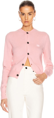 Acne Studios Face Cardigan in Blush Pink | FWRD