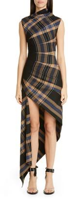 Monse Asymmetrical Pleated Plaid Midi Dress