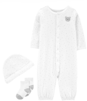 Carter's Baby Boys or Girls 3-Pc. Cotton Coverall, Hat & Socks Set