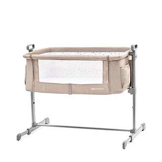 BEIGE Kinderkraft Bedside Crib NESTE, Travel Cot, Co-Sleeping Bed, Ajustable Height, Foldable Side Wall, Transport Wheels, with Accessories, Cotton Sheet, for Newborn, 0-9 kg, up to 6 Month,