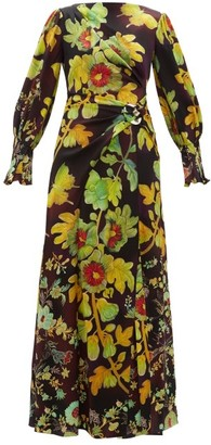 Peter Pilotto Botanical-print Silk-blend Cloque Maxi Dress - Brown Multi