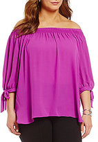 Peter Nygard Plus Off-the-Shoulder 3/4 Sleeve Blouse