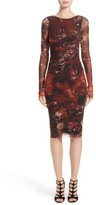 Fuzzi Women's Hummingbird Print Ruched Tulle Dress