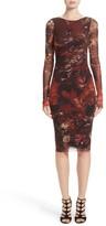 Fuzzi Women's Hummingbird Print Ruched Tulle Dress