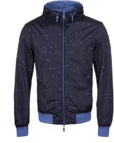 Armani Jeans Navy Blue Eagle Print Hooded Reversible Jacket