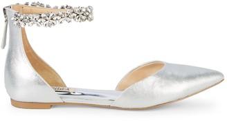 Badgley Mischka Edge Embellished Metallic-Leather d'Orsay Flats