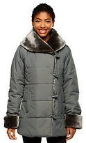 As Is Dennis Basso Shawl Collar Puffer Coat w/Faux Fur Collar & Cuffs