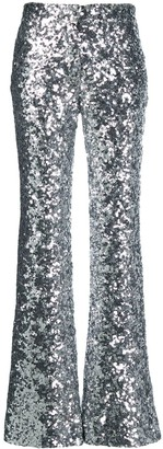 Halpern Metallic Sequin Trousers