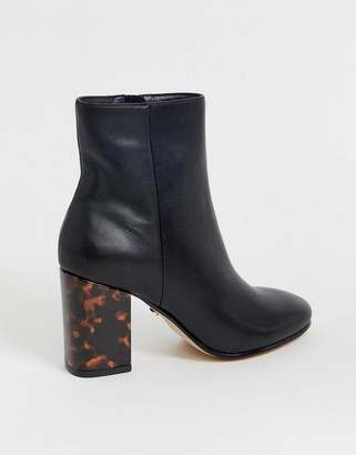 Office Aima mid heeled ankle boots with tortoise print contrast heel in black