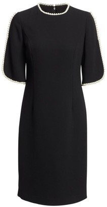 Teri Jon By Rickie Freeman Embellished Slit Sleeve Sheath Dress