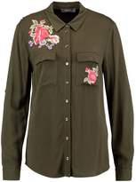 Oasis EMBROIDERED ROSE Shirt khaki