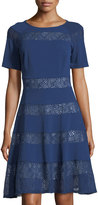Jax Short-Sleeve Mesh-Inset Fit-and-Flare Dress