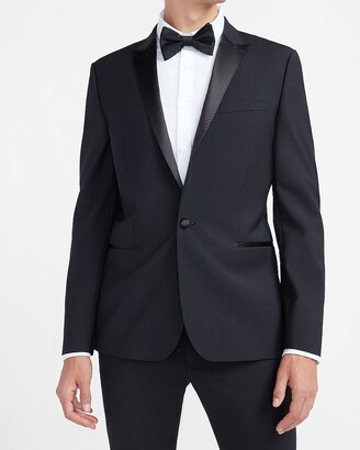 Express Extra Slim Solid Black Wool-Blend Tuxedo Jacket