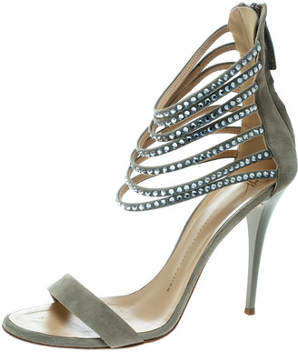 Giuseppe Zanotti Grey Suede Crystal Embellished Ankle Strap Open Toe Sandals Size 40