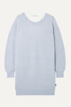 Alexander Wang Layered Merino Wool And Stretch-cotton Jersey Mini Dress - Sky blue