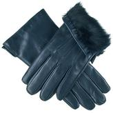 Black Navy Leather Gloves with Rabbit Fur Lining