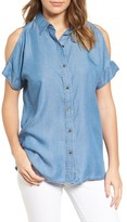 MICHAEL Michael Kors Petite Women's Chambray Cold Shoulder Shirt