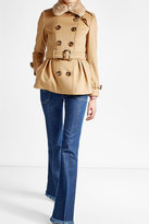 Burberry Wool and Cashmere Coat with Rabbit Fur Collar