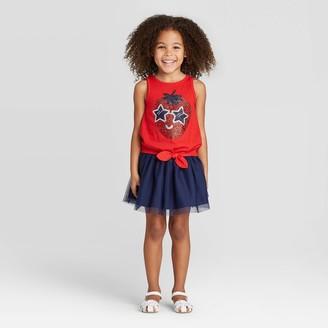 Cat & Jack Toddler Girl' Glitter trawberry Top and kirt et - Cat & JackTM 12M