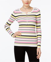INC International Concepts Zip-Up Striped Sweater, Only at Macy's