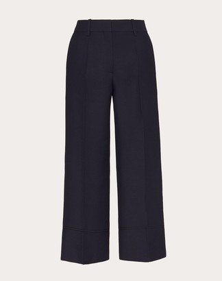 Valentino Vgold Crepe Couture Pants Women Navy Virgin Wool 65%, Silk 35% 42