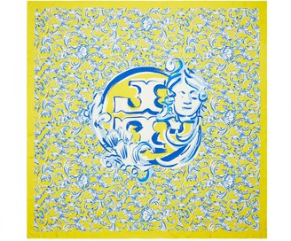 Tory Burch Yellow Swirl Oversized Silk Square Scarf