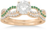 Allurez Infinity Diamond and Emerald Engagement Ring and Diamond Contour Wedding Band 18K Rose Gold (0.34ct)