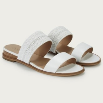 The White Company Beaded Low-Wedge Sandals, White, 38