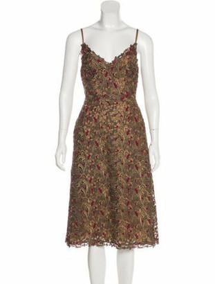 Valentino Metallic-Lace Sheath Dress Brown
