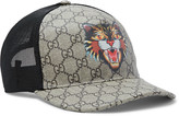 Gucci Angry Cat Printed Coated-Canvas and Mesh Baseball Cap
