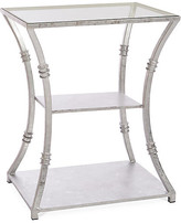 One Kings Lane Silas Side Table - Silver - frame, silver; top, clear