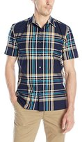 Perry Ellis Men's Multi Color Large Plaid Pattern Shirt