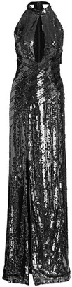 Galvan Peek-A-Boo Sequin Halter Gown