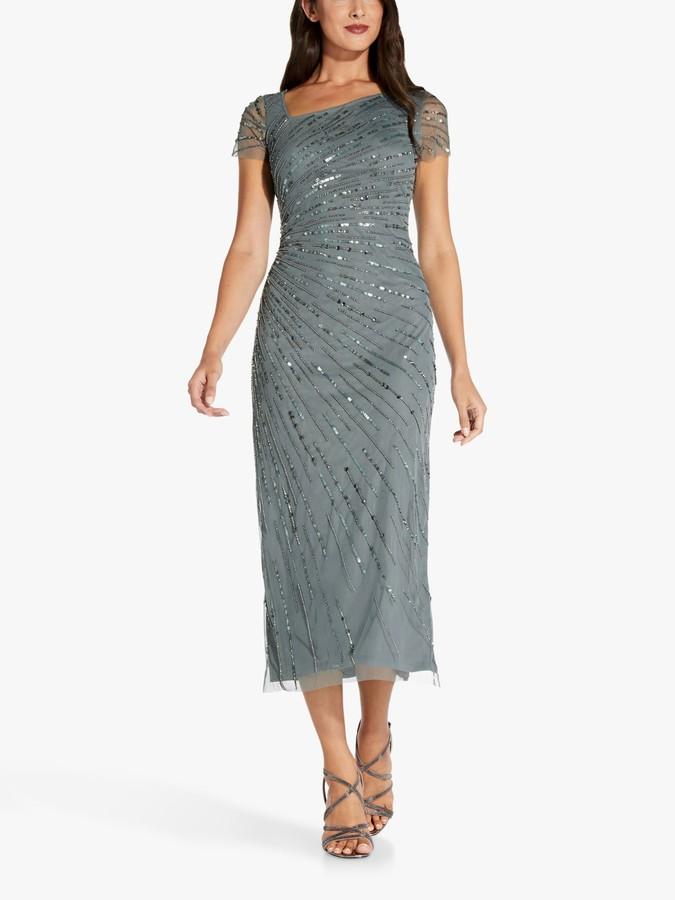 Adrianna Papell Beaded Midi Dress, Green Granite