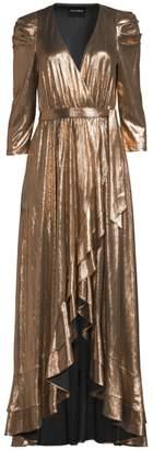 retrofete Flora Lame High-Low Wrap Dress