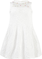 Simonetta Flocked cotton party dress - Ecru