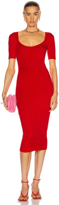 Cushnie Rounded Square Neck Floral Jacquard Dress in Rouge | FWRD