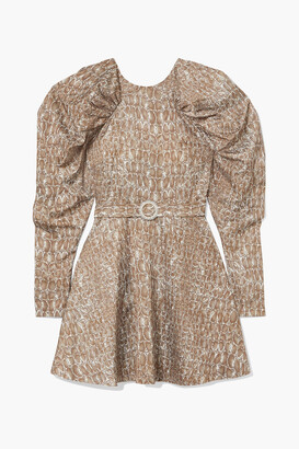 Rotate by Birger Christensen Belted Gathered Animal-print Matte-satin Mini Dress
