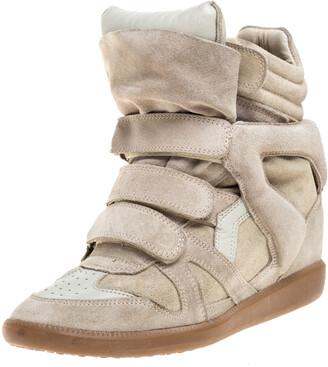 Isabel Marant Beige Suede Leather Bekett Wedge High Top Sneaker Size 38