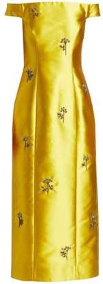 Erdem Angelique Embellished Off-The-Shoulder Midi Gown
