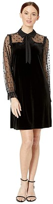 CeCe Long Sleeve Collared Mix Media Velvet Dress with Tie (Rich Black) Women's Dress