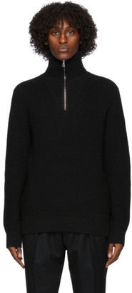 Officine Generale Black Wool Half-Zip Turtleneck