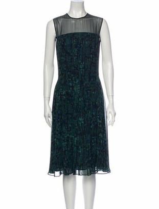 Jason Wu Silk Midi Length Dress Green