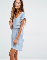 Honey Punch V Neck T-Shirt Dress With Frill Detail
