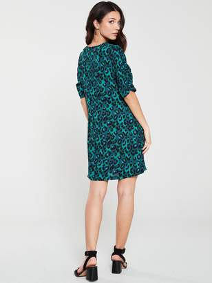 Very Ruched Sleeve Crepe Tunic - Print