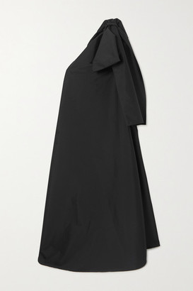 BERNADETTE Winnie Oversized One-shoulder Bow-embellished Taffeta Maxi Dress - Black