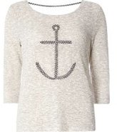 Dorothy Perkins Womens **Only Grey 3/4 Sleeve Anchor Sweat Top- Grey
