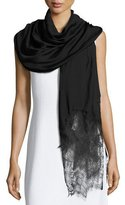 Valentino Woven Lace-Trim Shawl, Black